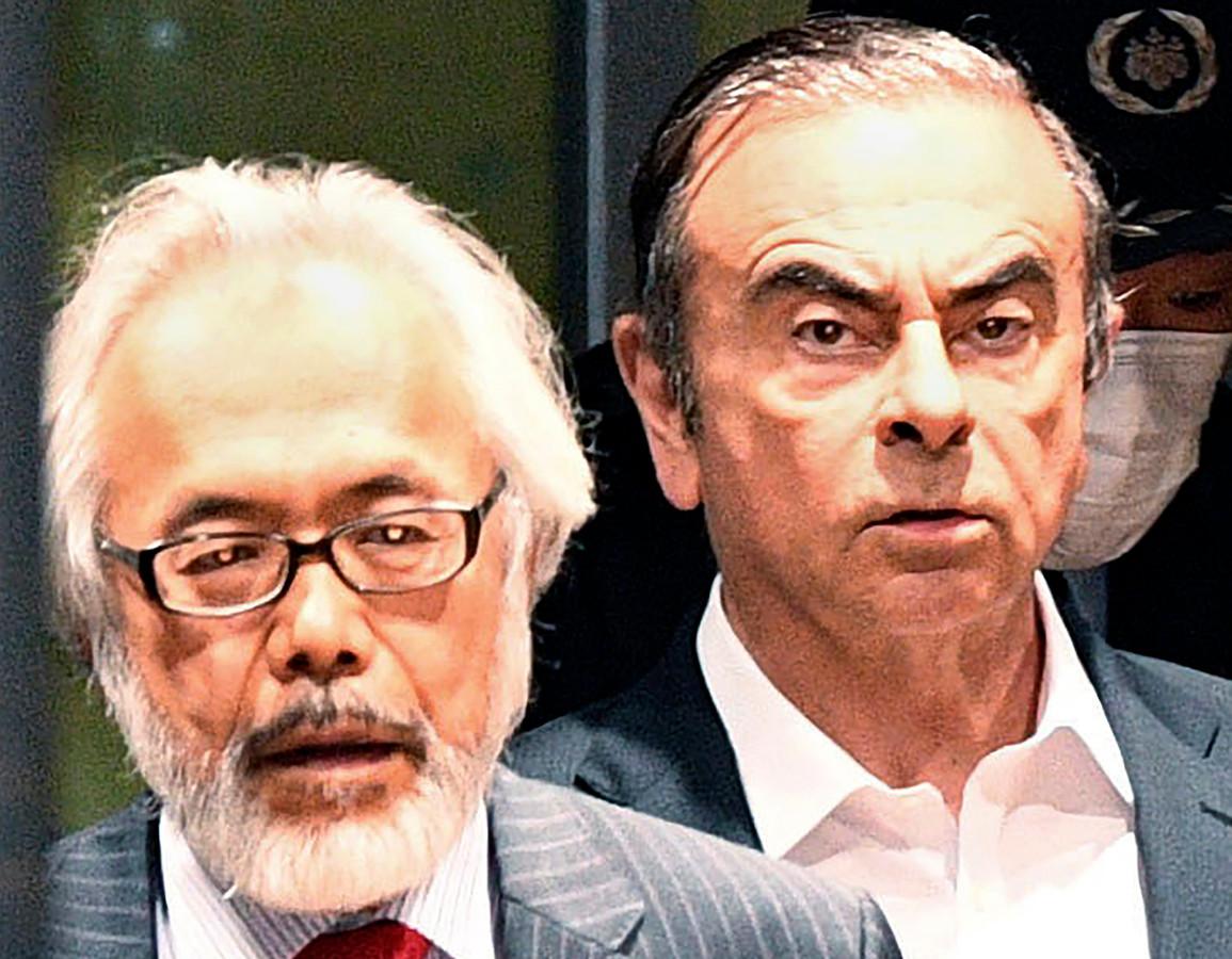 Carlos Ghosn et son avocat Takashi Takano.