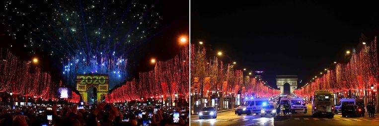 Ook een groot verschil in Parijs: links het vuurwerk eind vorig jaar, rechts de afgesloten Champs-Elysées.  Beeld AFP