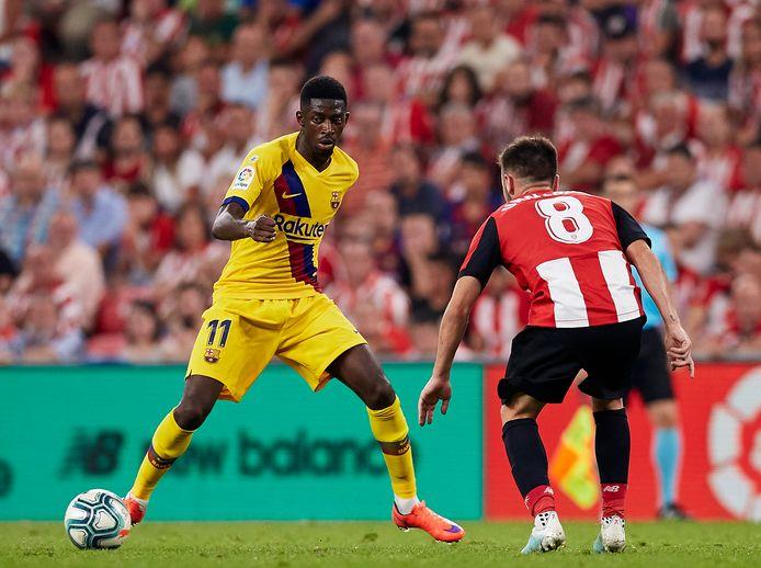 Ousmane Dembélé afgelopen weekend in actie tegen, left Athletic Bilbao.