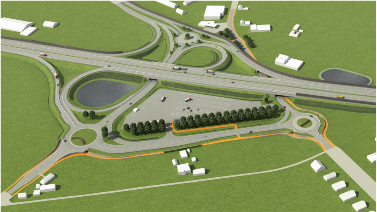 Het nieuwe complex met links beneden de baan naar Tielt en rechts beneden de baan naar Deinze. De aftakking die bovenaan naar links loopt, is de baan naar Maldegem.