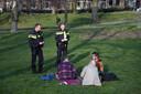 Jongeren op een kleedje in het Kronenburgerpark in Nijmegen krijgen een coronaboete.