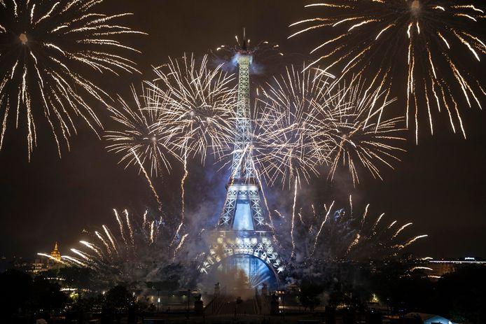 De Eiffeltoren, woensdag, op de Franse nationale feestdag.