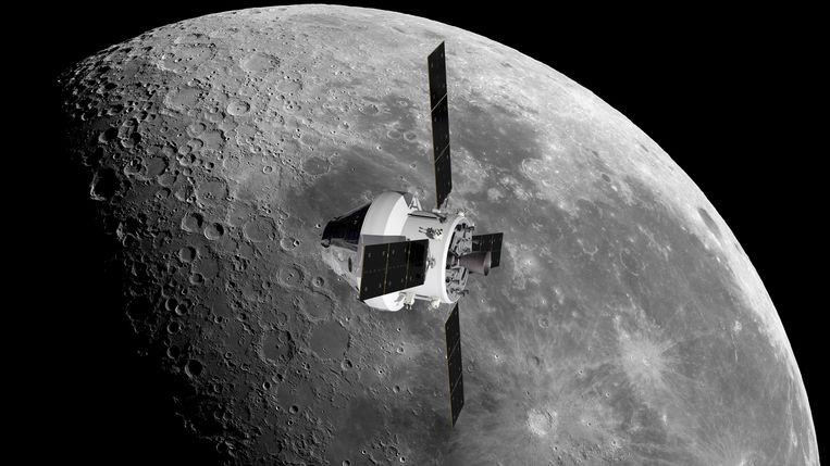 Computertekening van ruimteschip Orion, waarmee Nasa de eerste vrouw op de maan wil zetten. Beeld NASA/ESA/ATG Medialab