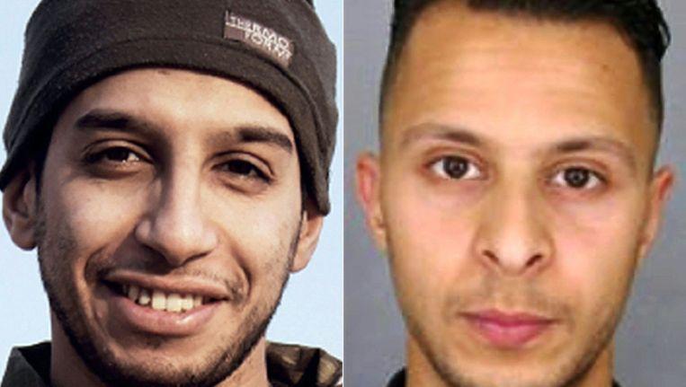 De in Saint-Denis gedode Abdelhamid Abaaoud (L) en de na de aanslagen in Brussel opgepakte Salah Abdeslam (R). Beeld afp