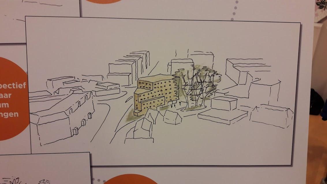 In kleur de eerste zeer voorlopige schets van de mogelijke nieuwbouw op het Kirpestein terrein. Omringd in zwartwit door de bestaande bebouwing