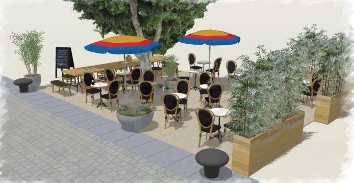 Het terras aan de Koolkaai moet er zo uit gaan zien.