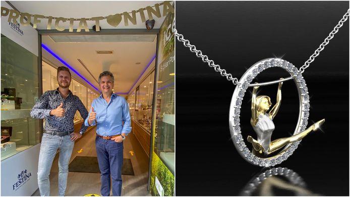 Cedric Pollenus (links) en Erwin Willems (rechts) van Juwelier Willems bedachten speciaal ter ere van Nina Derwael een toepasselijke hanger in het goud.