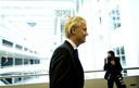 Geert Wilders nadat hij een toelichting aan de pers heeft gegeven in de Tweede Kamer.