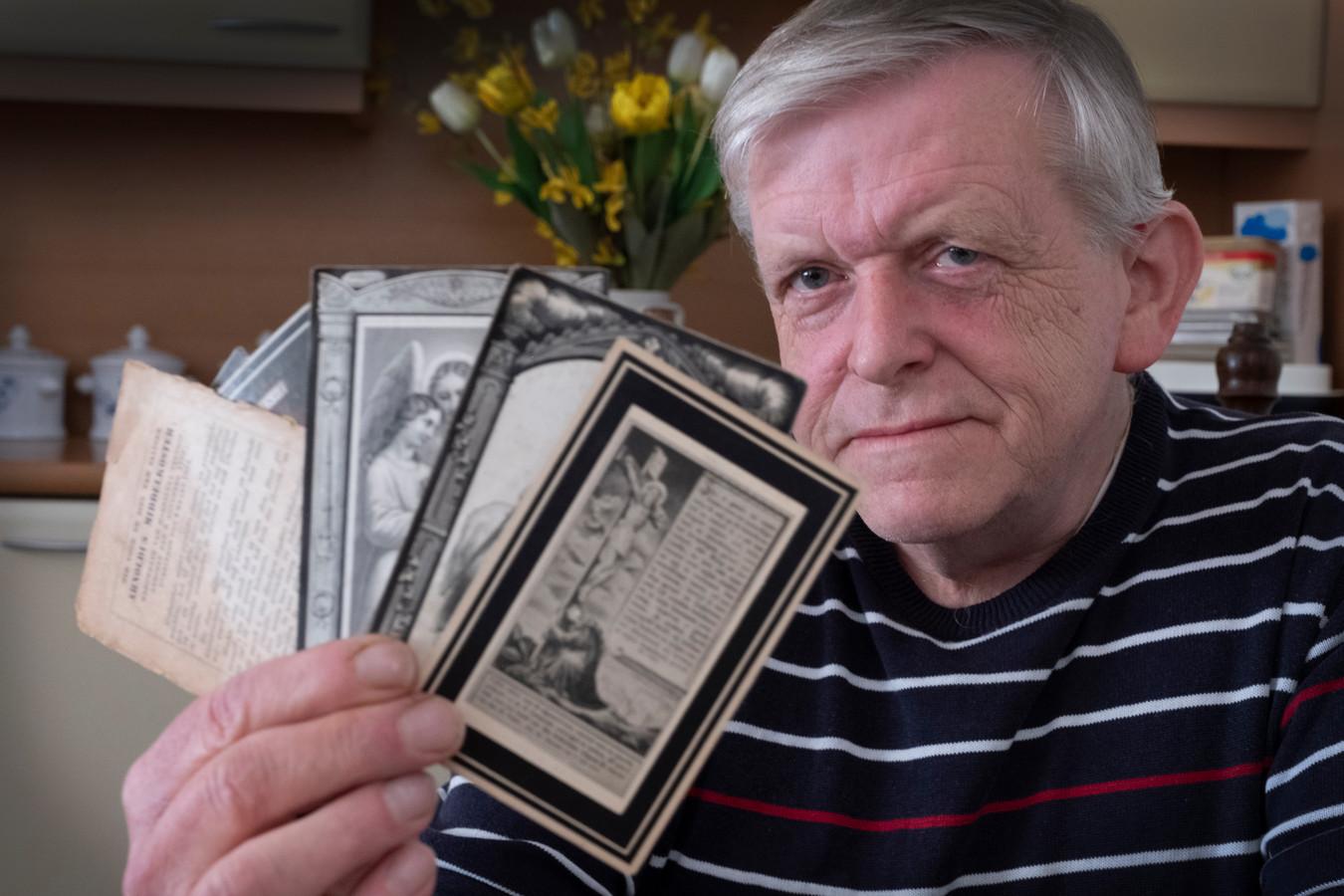 George Bendelow uit Molenhoek verzamelt bidprentjes. Een kleine greep uit de half miljoen plaatjes die George heeft.
