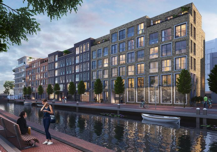 Een impressie van gebouw Vermeer, met op de hoek de voorziene luxe appartementen met penthouses