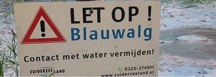 Borden waarschuwen voor blauwalg in Zeewolde
