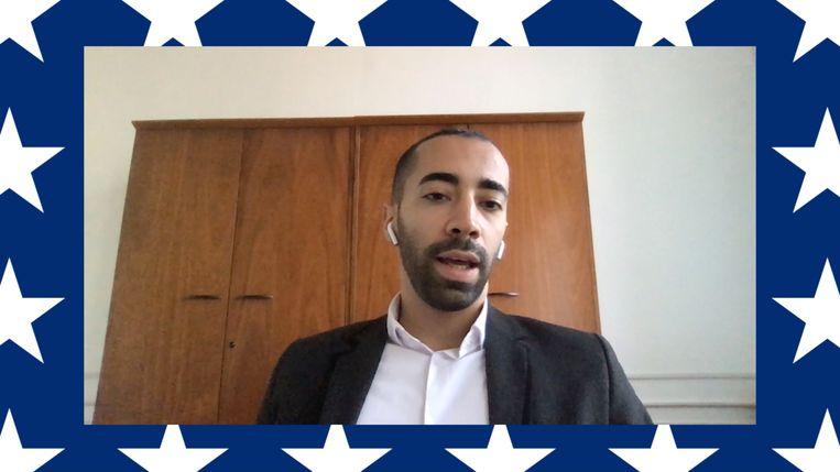 Staatssecretaris voor Asiel en Migratie Sammy Mahdi (CD&V): 'Deze verkiezingen gaan over Trump of niet Trump.' Beeld RV