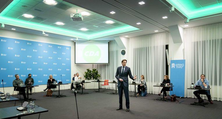 Partijleider Wopke Hoekstra tijdens een fractiebijeenkomst van het CDA in Nieuwspoort, de dag na de Tweede Kamerverkiezingen.  Beeld ANP