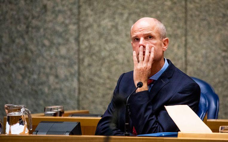 Minister van Buitenlandse Zaken, Stef Blok, tijdens het debat over Nederlandse steun aan de gewapende oppositie in Syrië. Beeld Freek van den Bergh / de Volkskrant