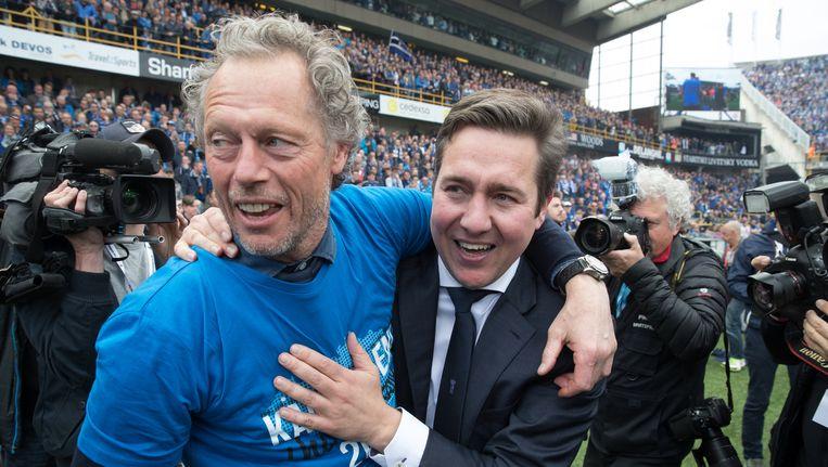 Trainer Michel Preud'homme en CEO Vincent Mannaert na de kampioenenwedstrijd tegen Anderlecht. Beeld Belga