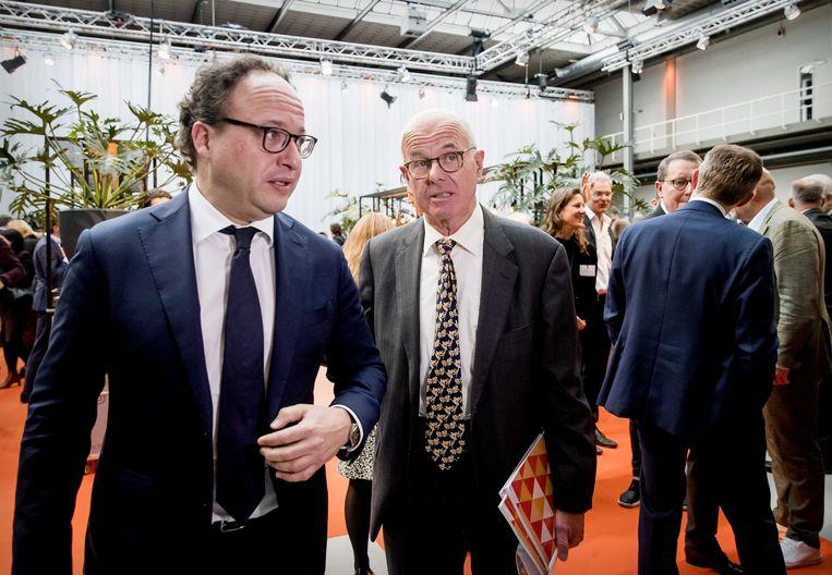 Minister Wouter Koolmees (Sociale Zaken en Werkgelegenheid) en commissievoorzitter Hans Borstlap tijdens de presentatie van de commissie-Borstlap.  Beeld ANP