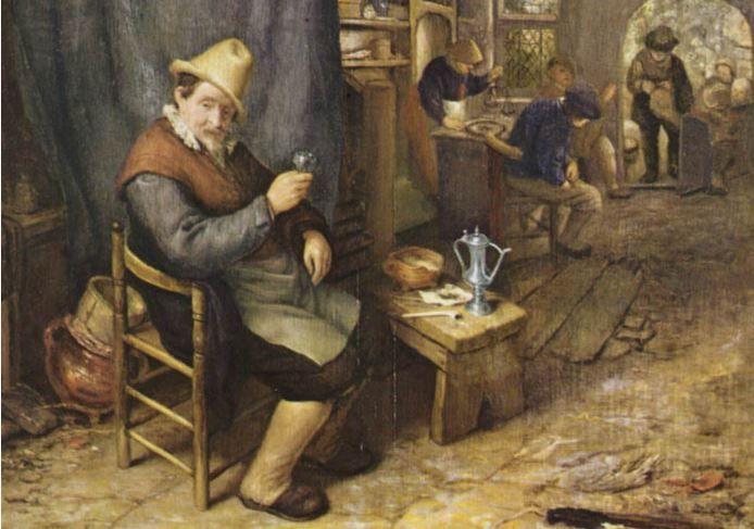 Eén van de schilderijen die in 2002 gestolen werden uit het Frans Hals Museum: 'De tevreden drinker' van Adriaen van Ostade