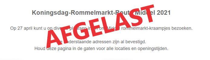 De rommelmarkt-route in Middel gaat toch niet door.