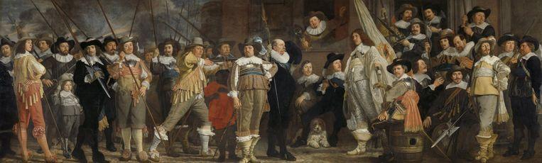 'Officieren en andere schutters van wijk VII in Amsterdam onder leiding van kapitein Roelof Bicker en luitenant Jan Michielsz Blaeuw' (1639) van Bartholomeus van der Helst. Beeld Rijksmuseum