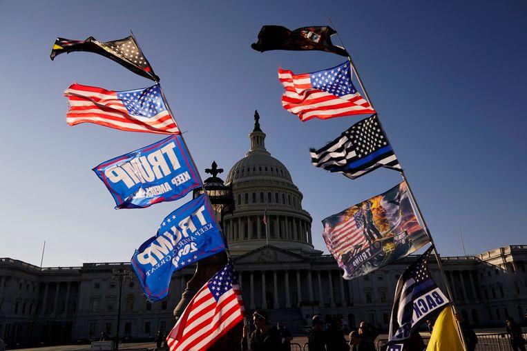 Betogers op de mars. Beeld AP