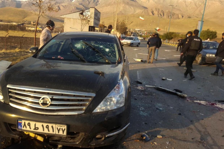 Een foto die in de Iraanse pers verscheen van de aanslag in Absard. Beeld AP