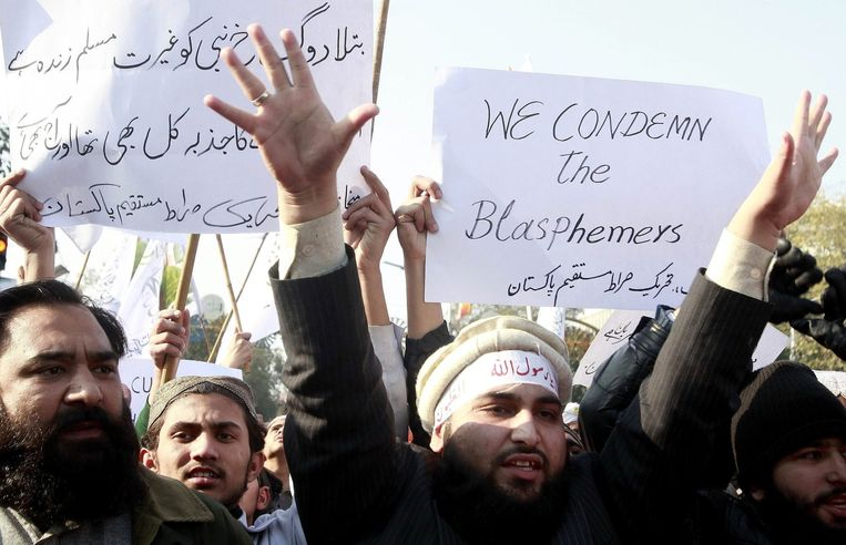 Demonstranten in Lahore, Pakistan. Beeld epa