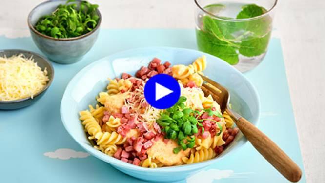 Ga voor een heerlijke pastaschotel bomvol groente en krokante ham