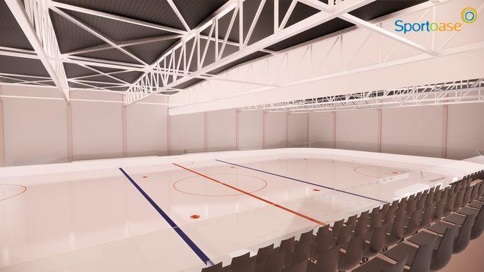 De schaatsbaan zal ook een tribune hebben
