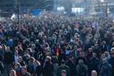 Het protest tegen de geldende coronamaatregelen.