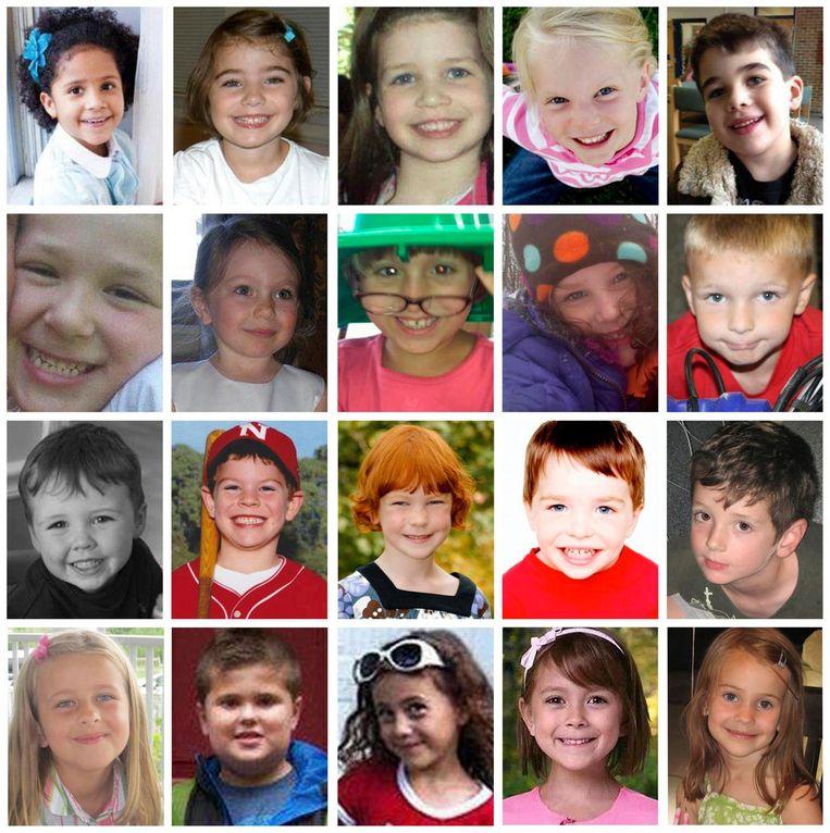 De twintig kinderen die om het leven kwamen tijdens de schietpartij. Noah Pozner, de zoon van Lenny, is het jongetje rechts bovenaan. Beeld reuters