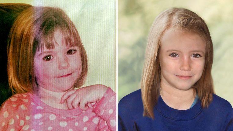Links Maddie op 3-jarige foto, rechts een computerfoto hoe ze er op 9-jarige leeftijd uit zou kunnen zien. Beeld AFP