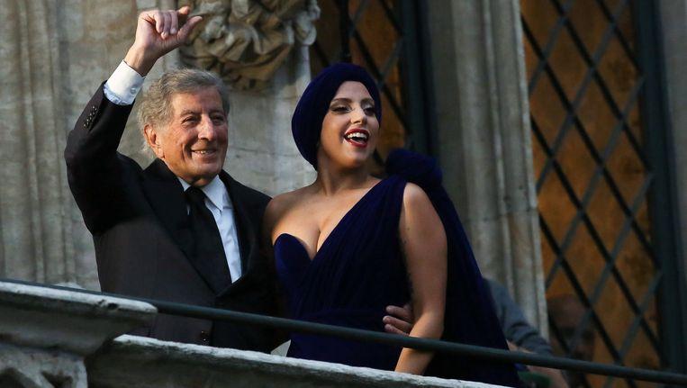 Tony Bennett en Lady Gaga tijdens een bezoek aan Brussel.