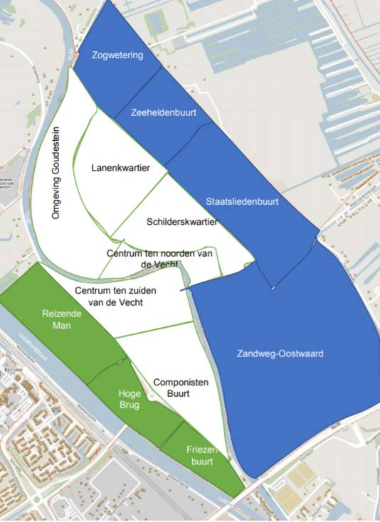 De delen van Maarssen-Dorp (groen en blauw) die volgens de prognose als eerste van het gas af gaan.
