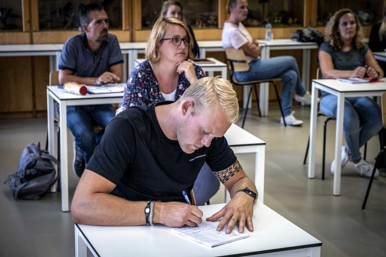 September 2020: studenten beginnen aan het nieuwe studiejaar op de pabo.  Beeld Ramon van Flymen / ANP