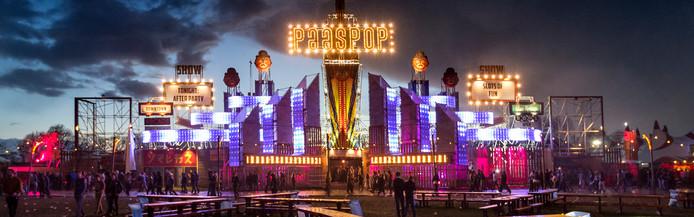 Het hoofdterrein van Paaspop in Schijndel, de organisatie komt met nieuwe routes richting dit festivalgebied.
