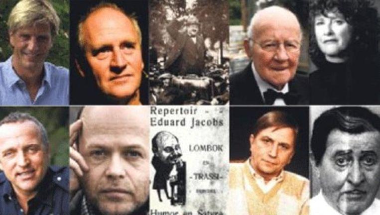 Vlnr boven: Wim Kieft, Herman Koch, Kokadorus, John Kraaijkamp en Marjan Luif. Vlnr onder: Gordon Heuckeroth, Marc-Marie Huijbregts, Eduard Jacobs, Leen Jongewaard en Johan Kaart Beeld