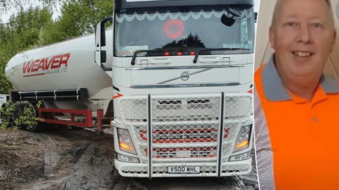 Britse trucker ziet hoe automobilisten z'n tankwagen helemaal tot bouwwerf volgen waar hij geen brandstof maar cement komt afleveren