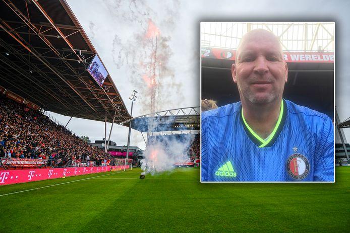 Feyenoord-fan Peter zoekt contact met de vrouw die naast hem zat in stadion Galgenwaard.