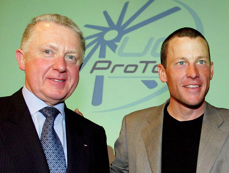 Hein Verbruggen en Lance Armstrong. Beeld epa