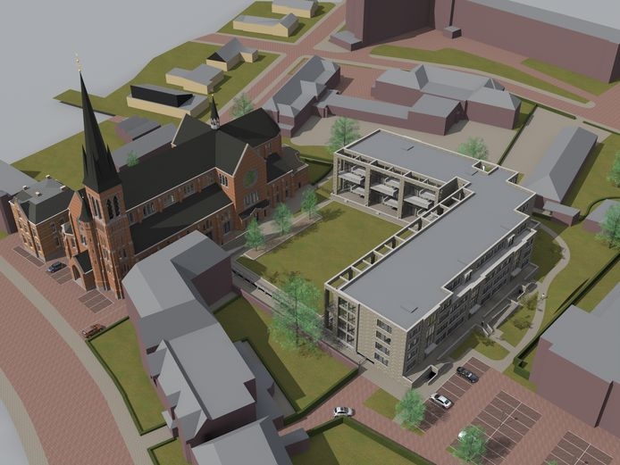 Een impressie van hoe de kerk en het nog te bouwen appartementenblok er straks er uit gaan zien.