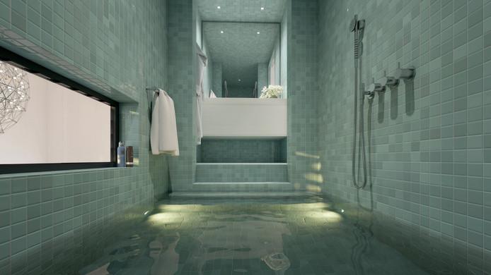 Sommige vertrekken zijn heel compact, zoals de badkamer met inloopbad.