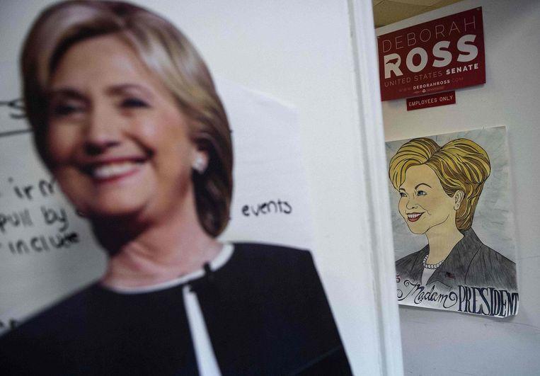 Een campagnebureau van Hillary Clinton in North Carolina. Beeld afp