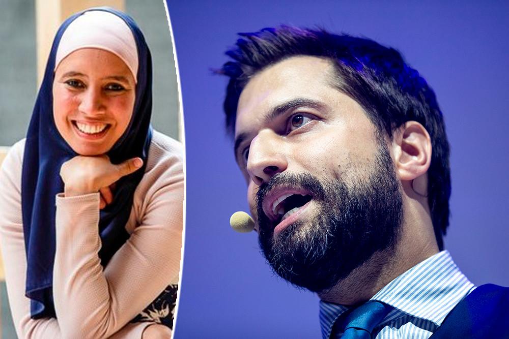 Volgens MR-voorzitter Georges-Louis Bouchez (rechts) valt de benoeming van de hoofddoek dragende Ihsane Haouach (links) als regeringscommissaris niet te rijmen met het neutraliteitsbeginsel van de overheid.