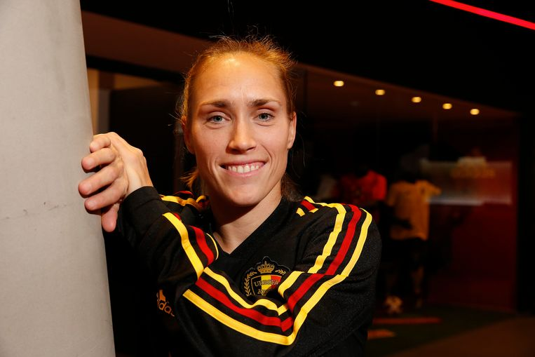 Belgium's Janice Cayman pictured during a press conference of Belgian national women's soccer team Red Flames, Sunday 13 January 2019 in Tubize. Tomorrow the team will be travelling to Spain for their winter training camp. BELGA PHOTO NICOLAS MAETERLINCK