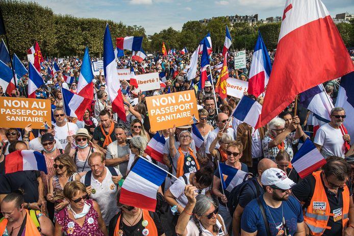 Betogers in Parijs.