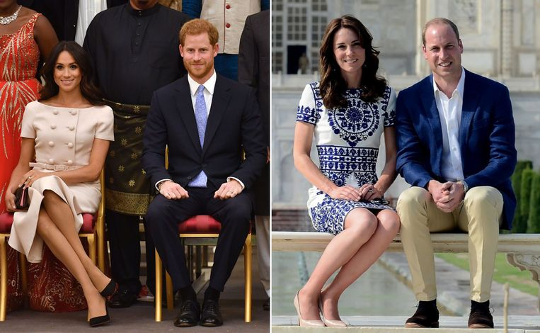 Meghan Markle (links) en Kate Middleton Beeld Getty