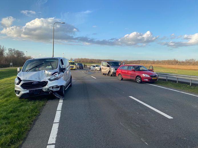 Ravage na het ongeluk tussen Zeewolde en Lelystad.