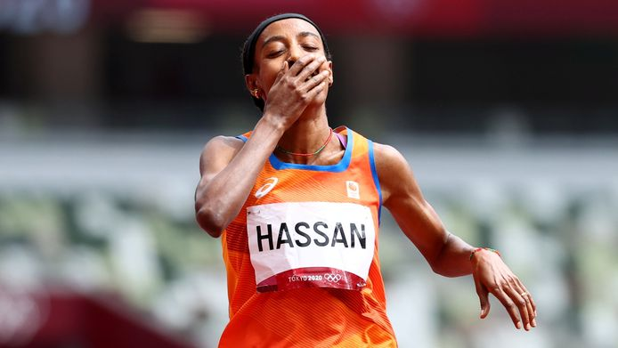 Sifan Hassan reageert na haar winst.