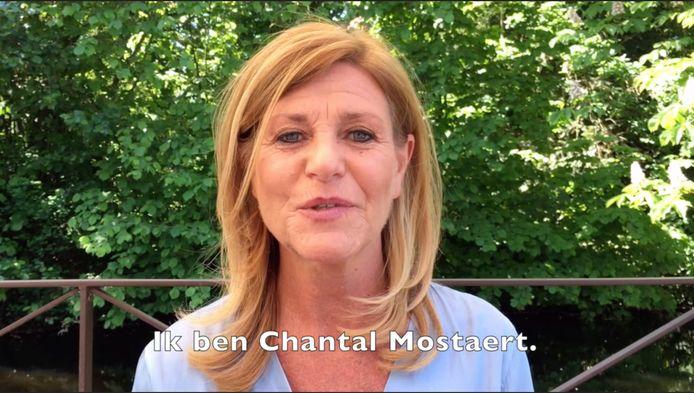Screenshot uit het campagnefilmpje van Chantal Mostaert bij de laatste gemeenteraadsverkiezingen.