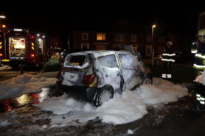 In Drunen ging in de nacht van dinsdag op woensdag een auto in vlammen op.